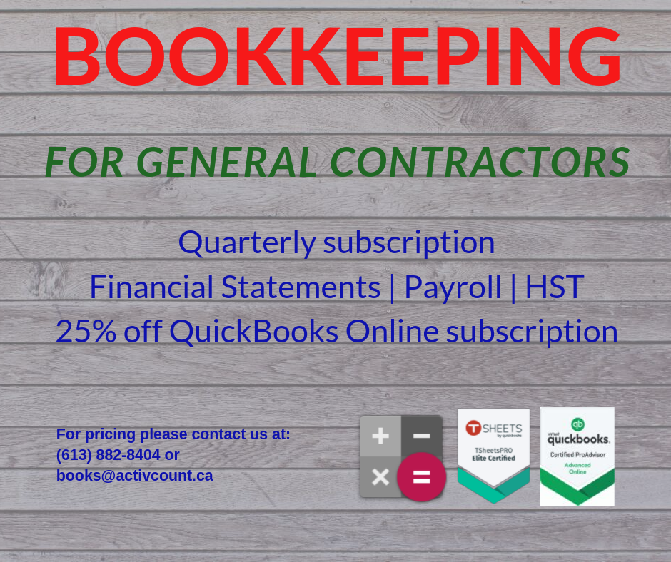 QuickBooks Online for General Contractors 613-882-8404