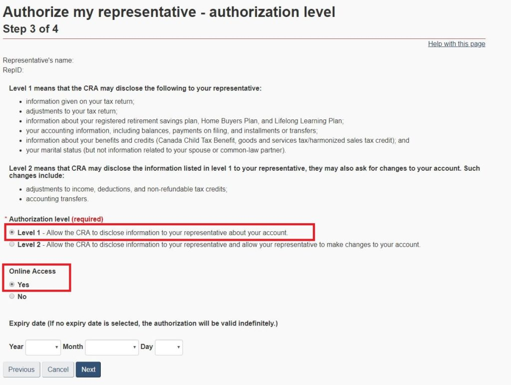 Level of Authorization
